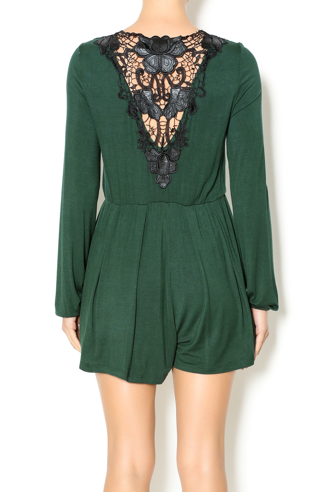 Double Zero Hunter Green Romper - Back Cropped Image