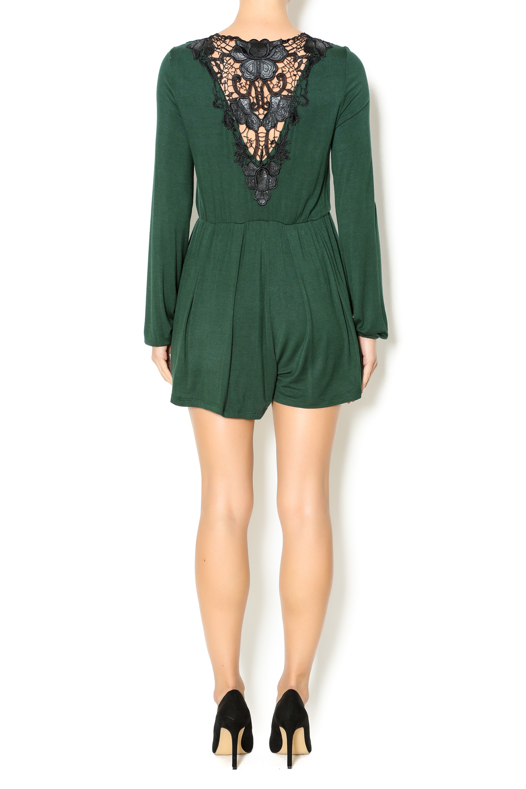 Double Zero Hunter Green Romper - Side Cropped Image