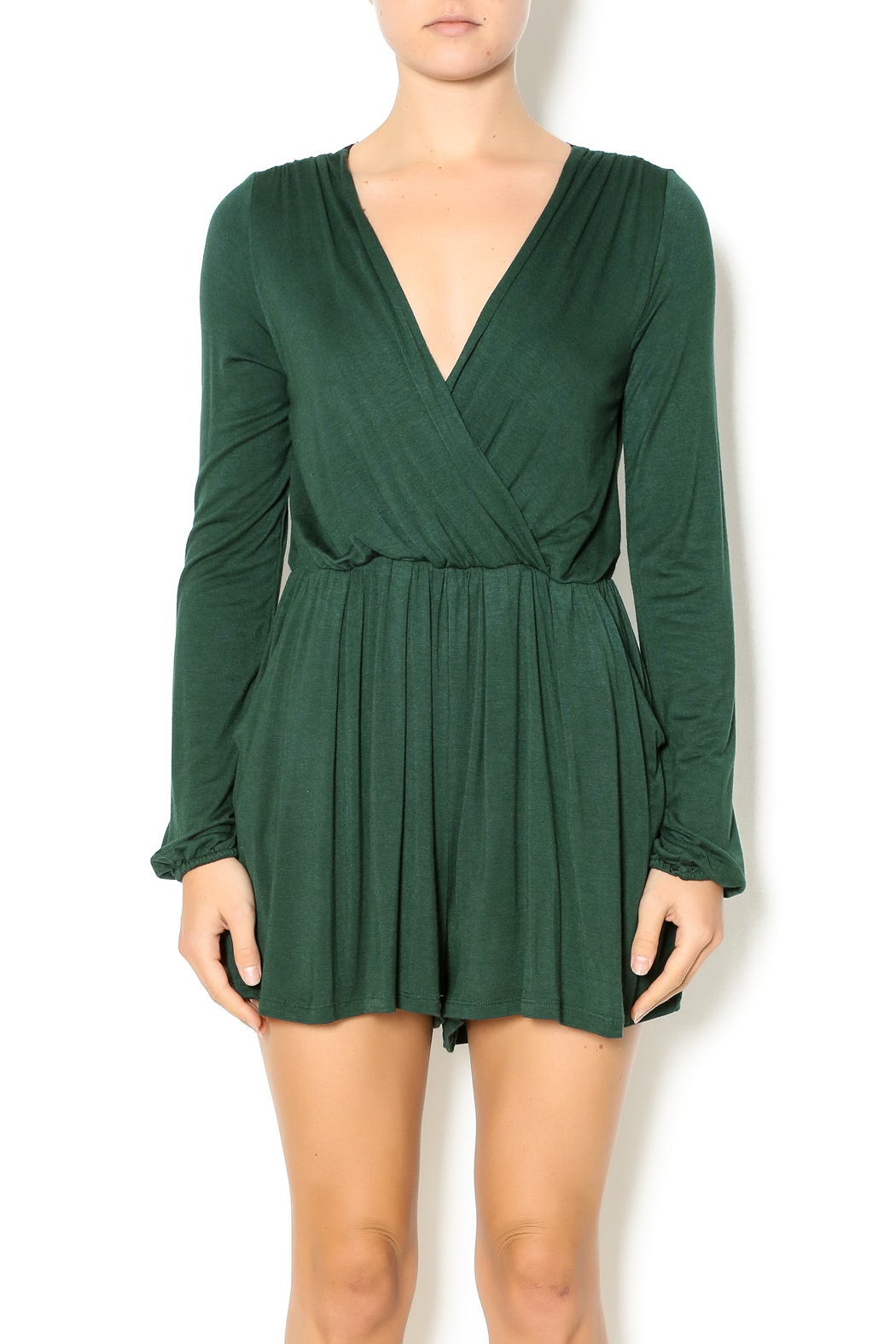 Double Zero Hunter Green Romper - Front Cropped Image