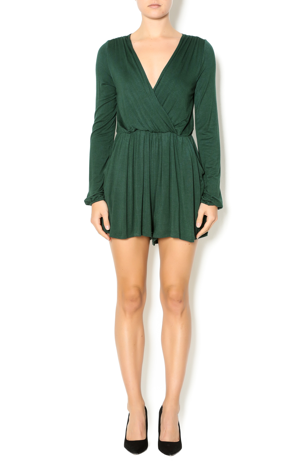 Double Zero Hunter Green Romper - Front Full Image