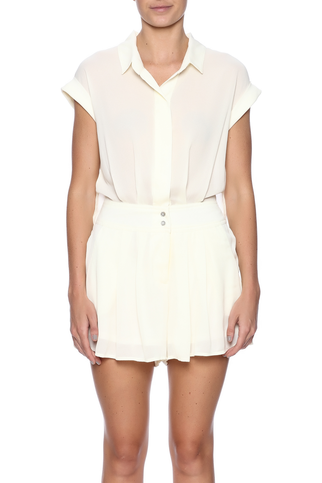 Double Zero Ivory Romper - Side Cropped Image