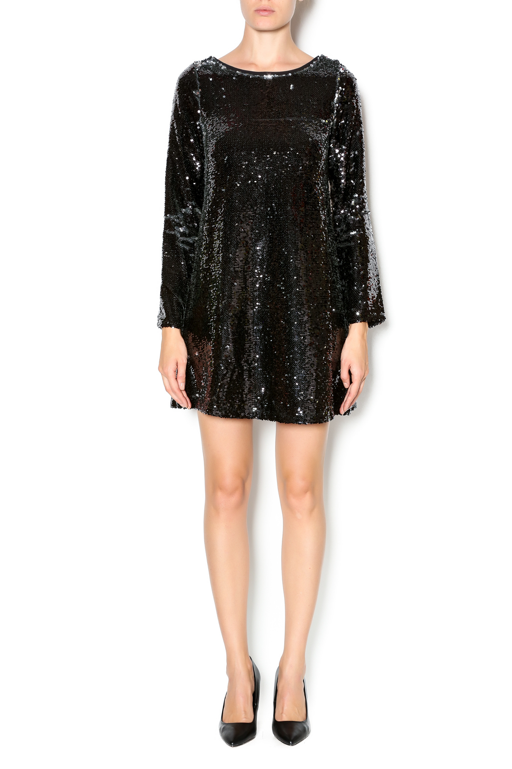 Double Zero Long Sleeve Sequin Dress - Front Full Image