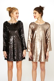 Double Zero Long Sleeve Sequin Dress - Front cropped
