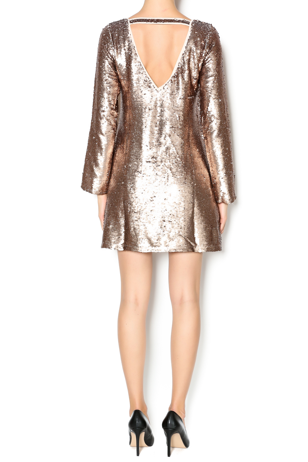 Double Zero Long Sleeve Sequin Dress - Side Cropped Image