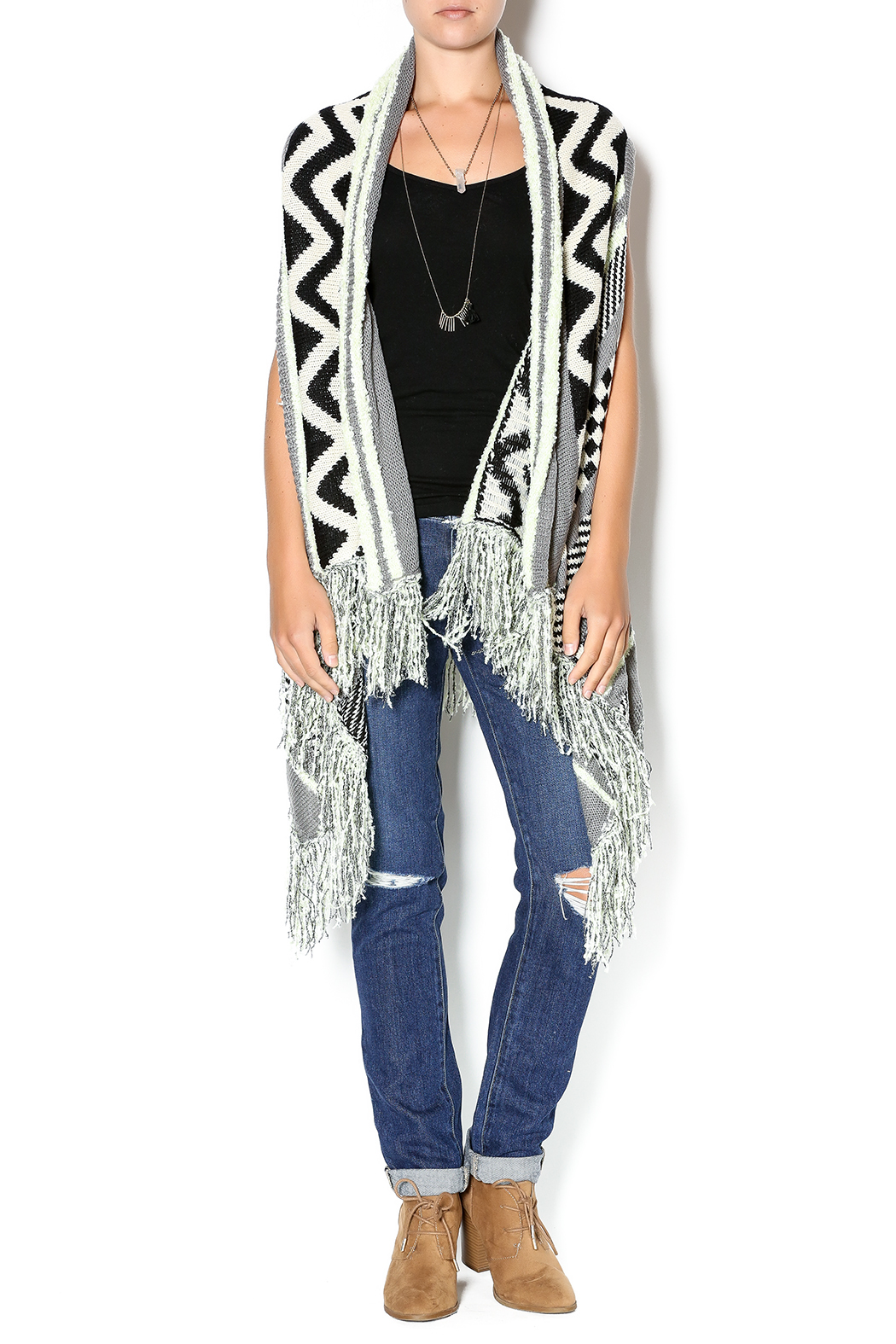 Double Zero Sleeveless Open Cardigan - Front Full Image