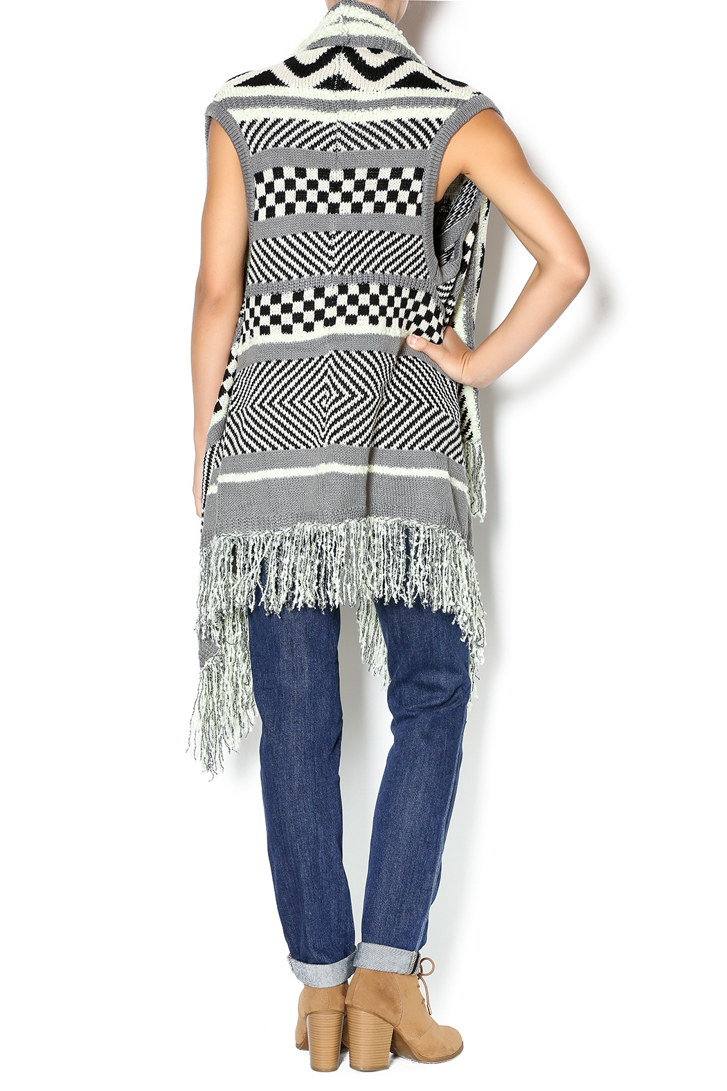 Double Zero Sleeveless Open Cardigan - Side Cropped Image