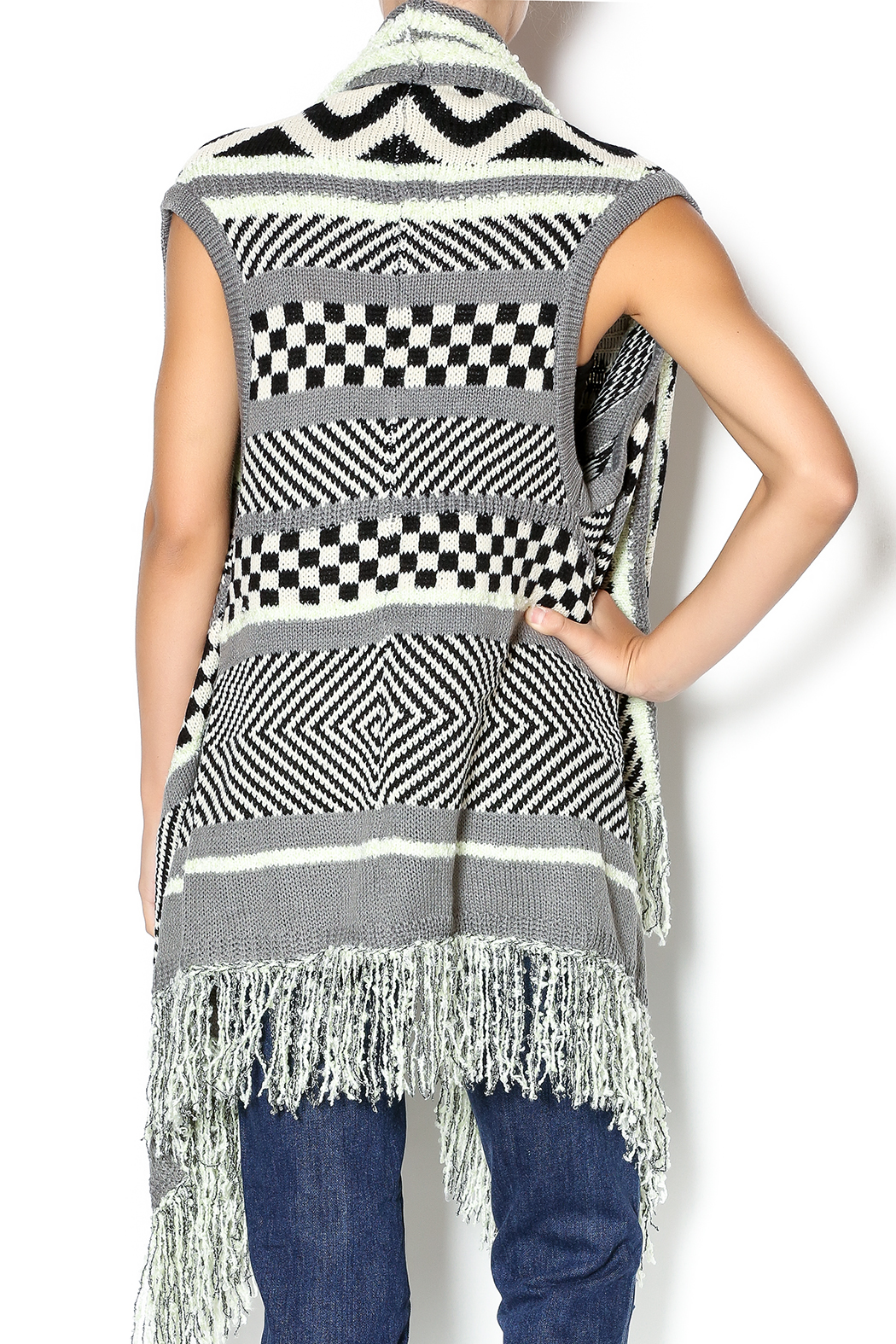 Double Zero Sleeveless Open Cardigan - Back Cropped Image