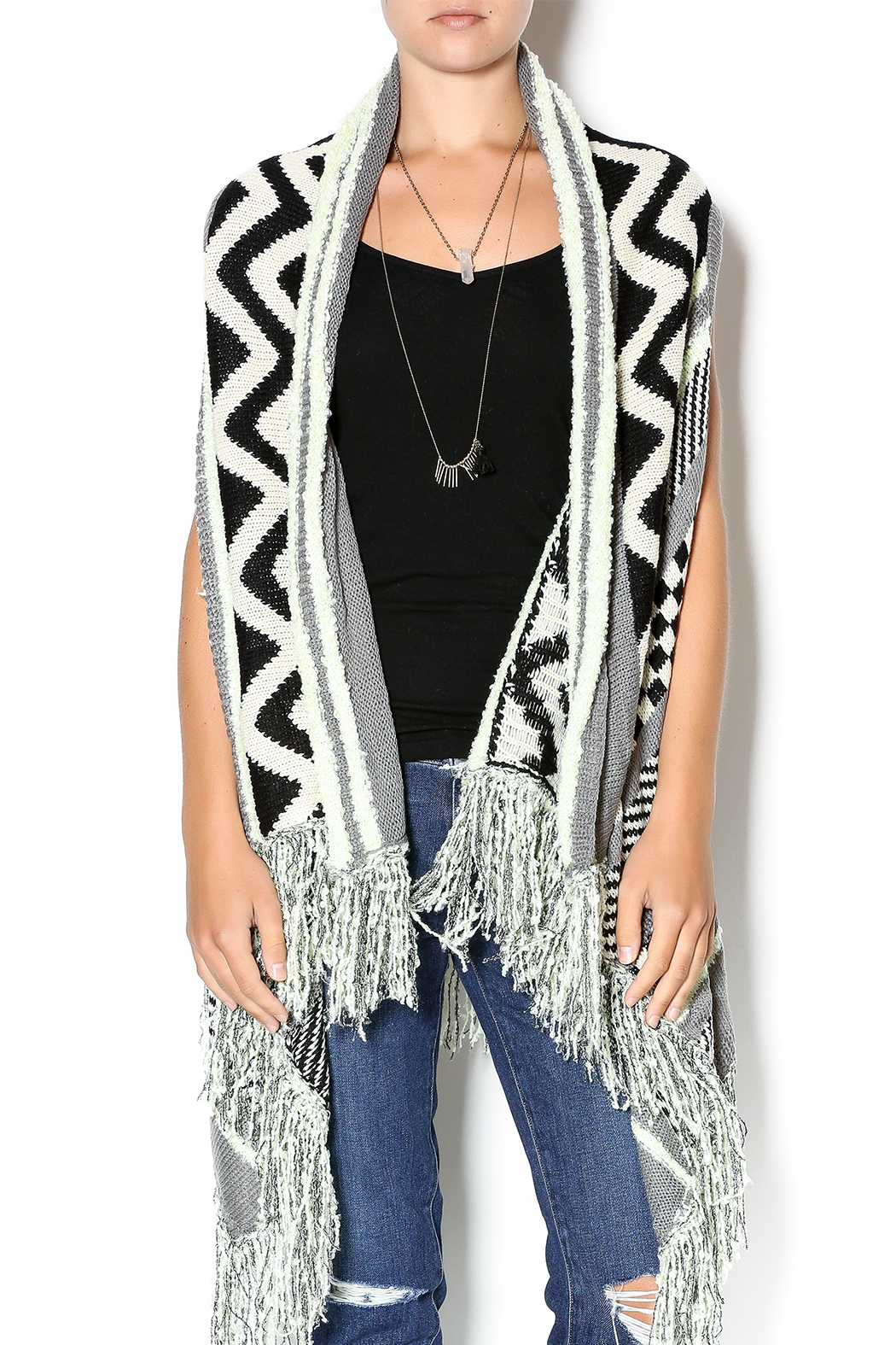Double Zero Sleeveless Open Cardigan - Main Image