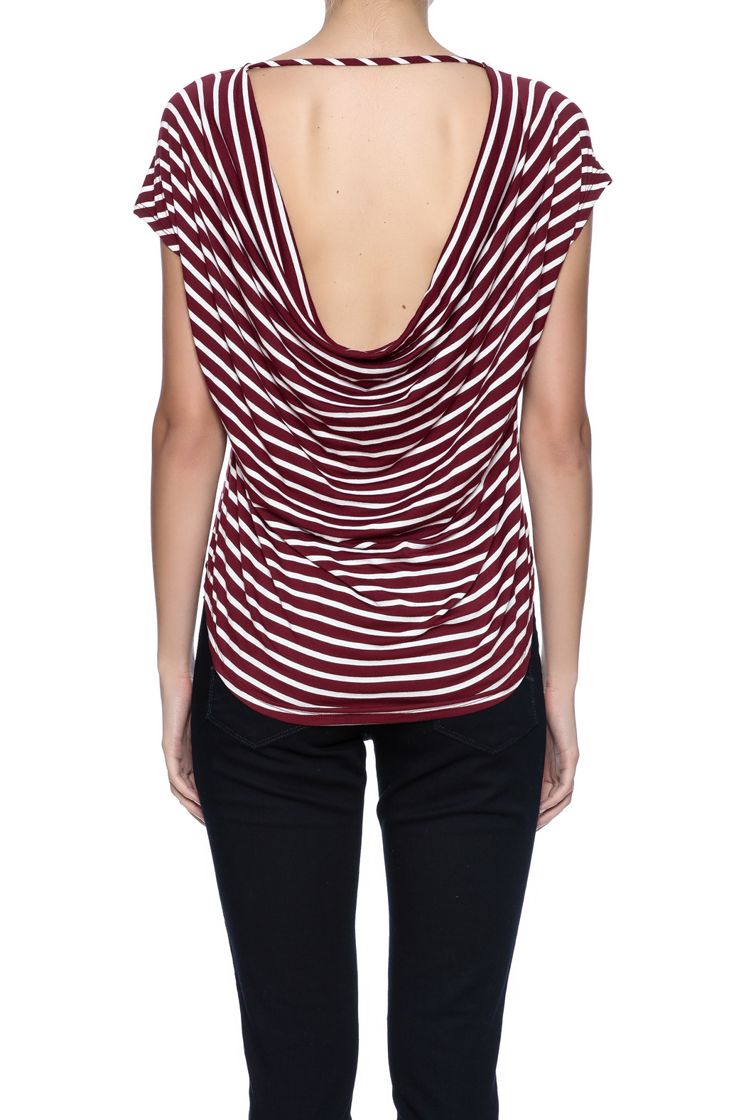 Double Zero Striped Tee - Back Cropped Image