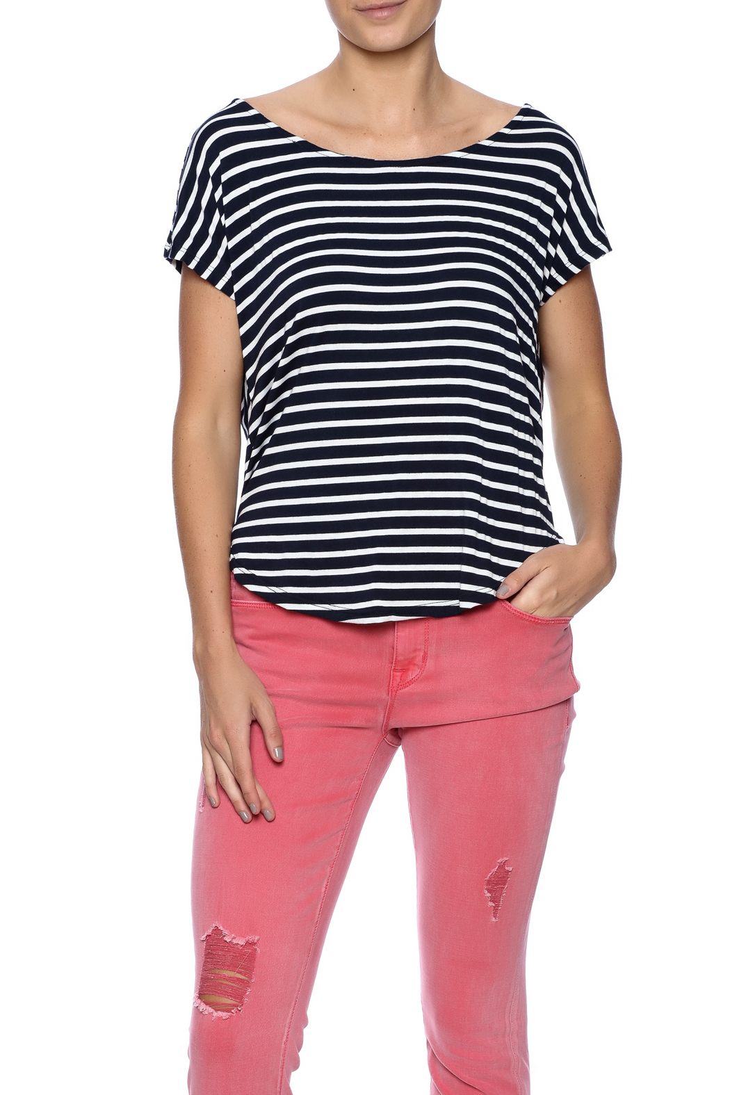 Double Zero Striped Tee - Front Cropped Image