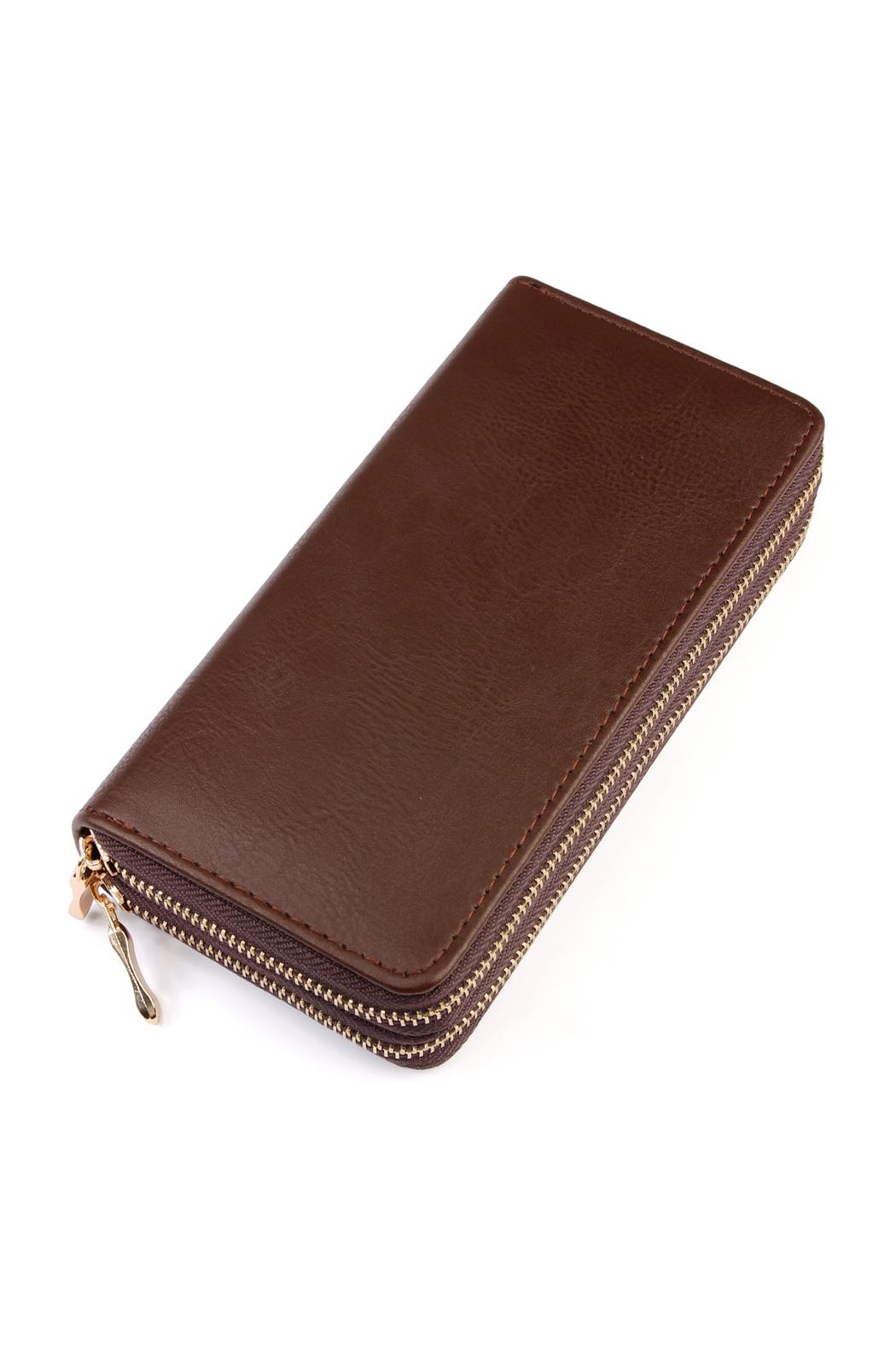 Riah Fashion Double Zip Wallet - Front Cropped Image