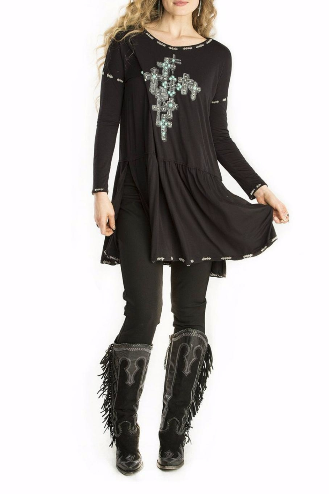 Double D Ranchwear Cross Embellished Tunic Top - Main Image