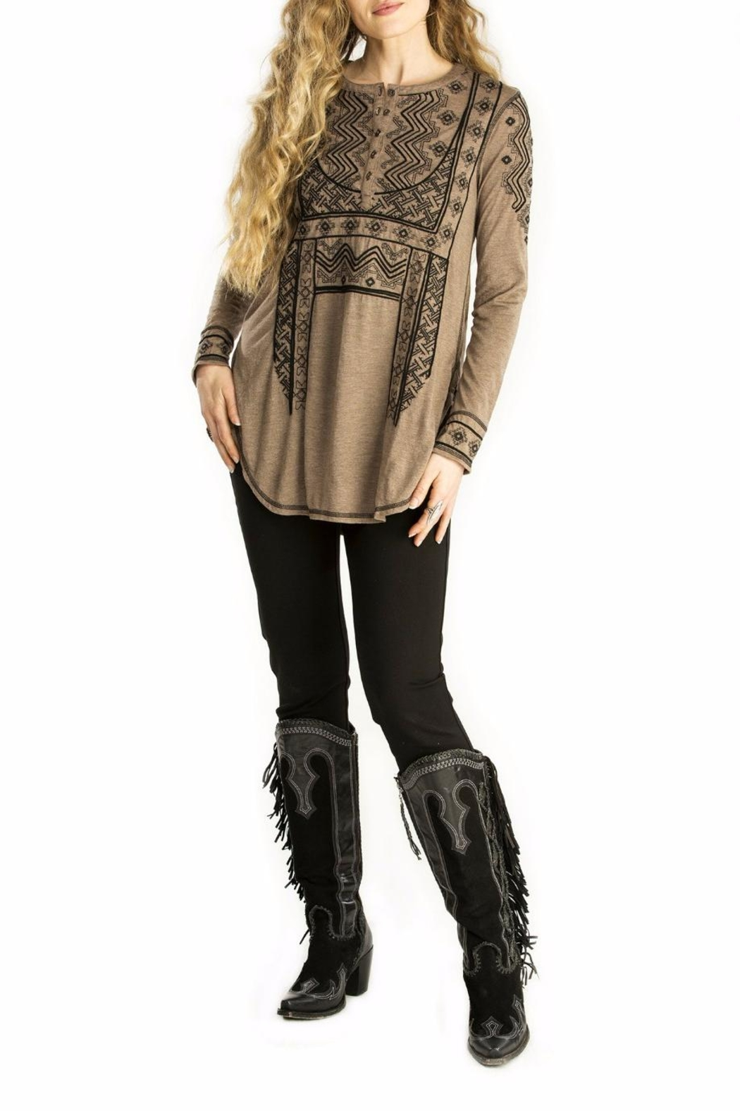 Double D Ranchwear Embroidered Henley Tunic - Main Image