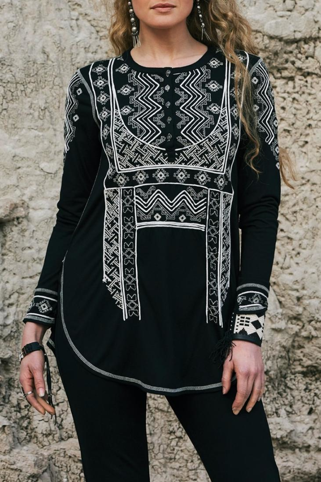 Double D Ranchwear Embroidered Henley Tunic - Front Full Image