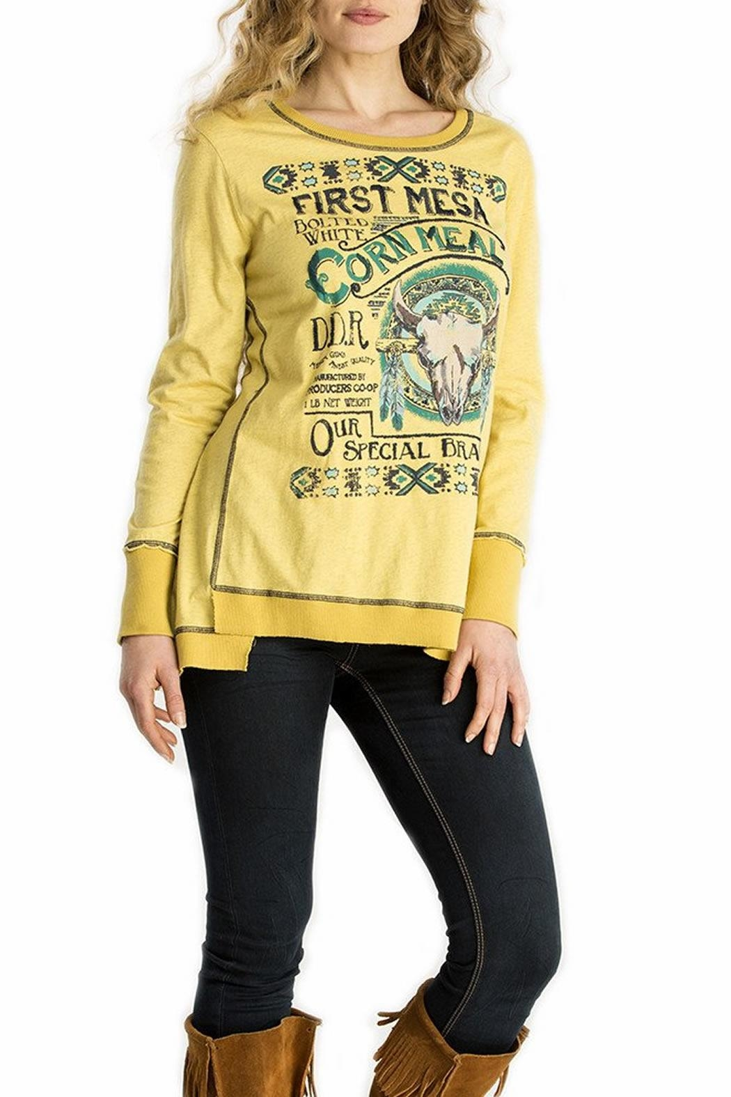 Double D Ranchwear First-Mesa Corn-Meal Top - Front Cropped Image