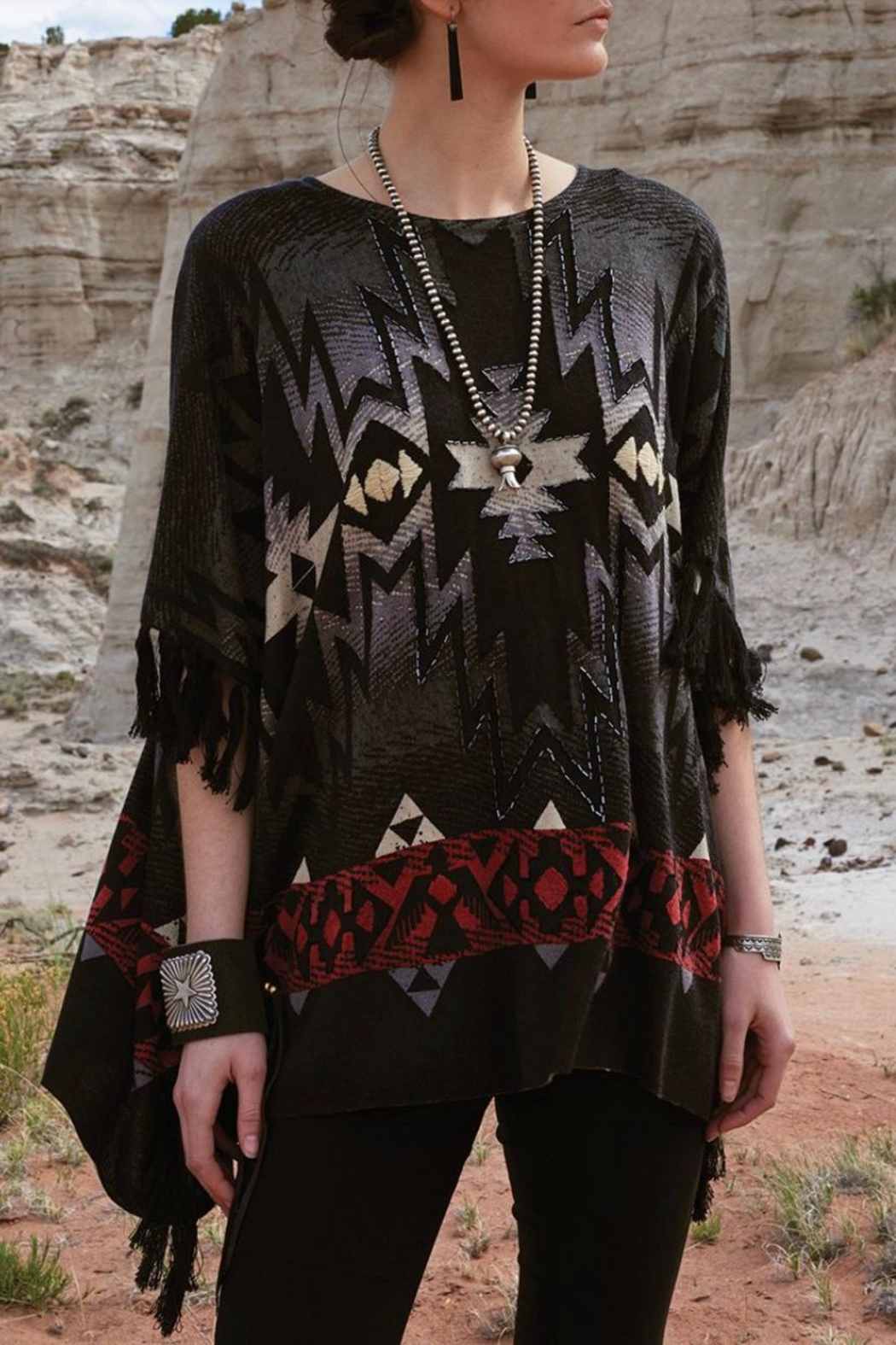 Double D Ranchwear Fringed Poncho Top - Main Image