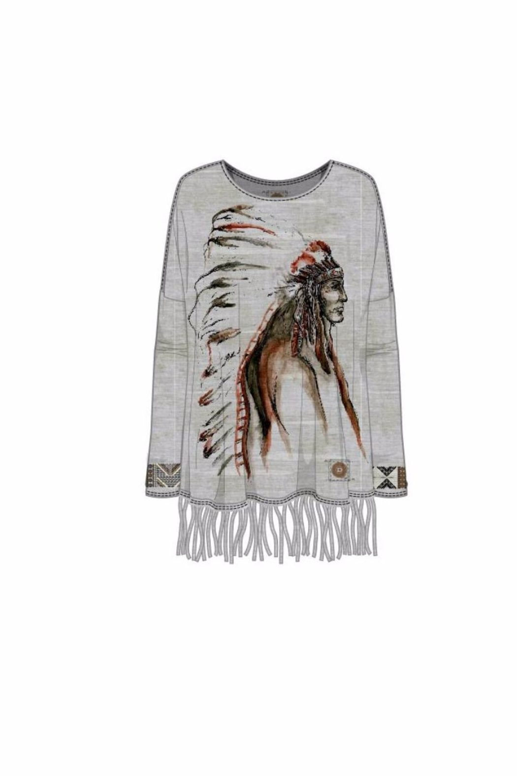 Double D Ranchwear Fringed Tunic:  Indian - Front Full Image
