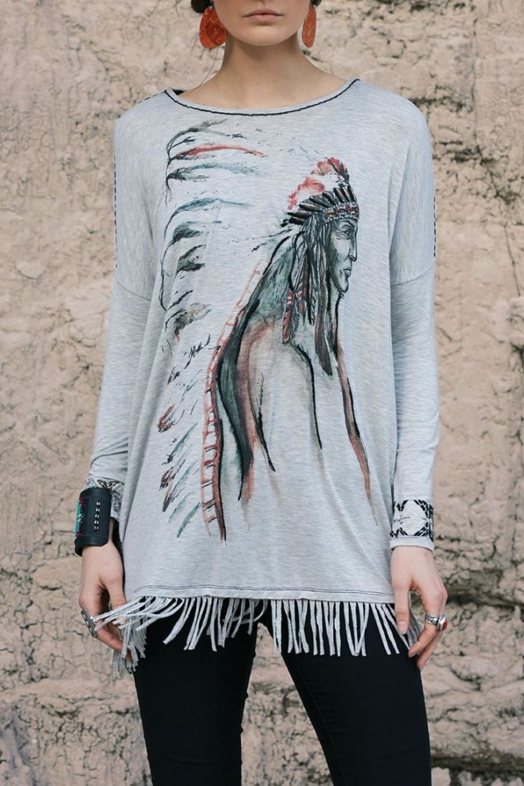 Double D Ranchwear Fringed Tunic:  Indian - Main Image