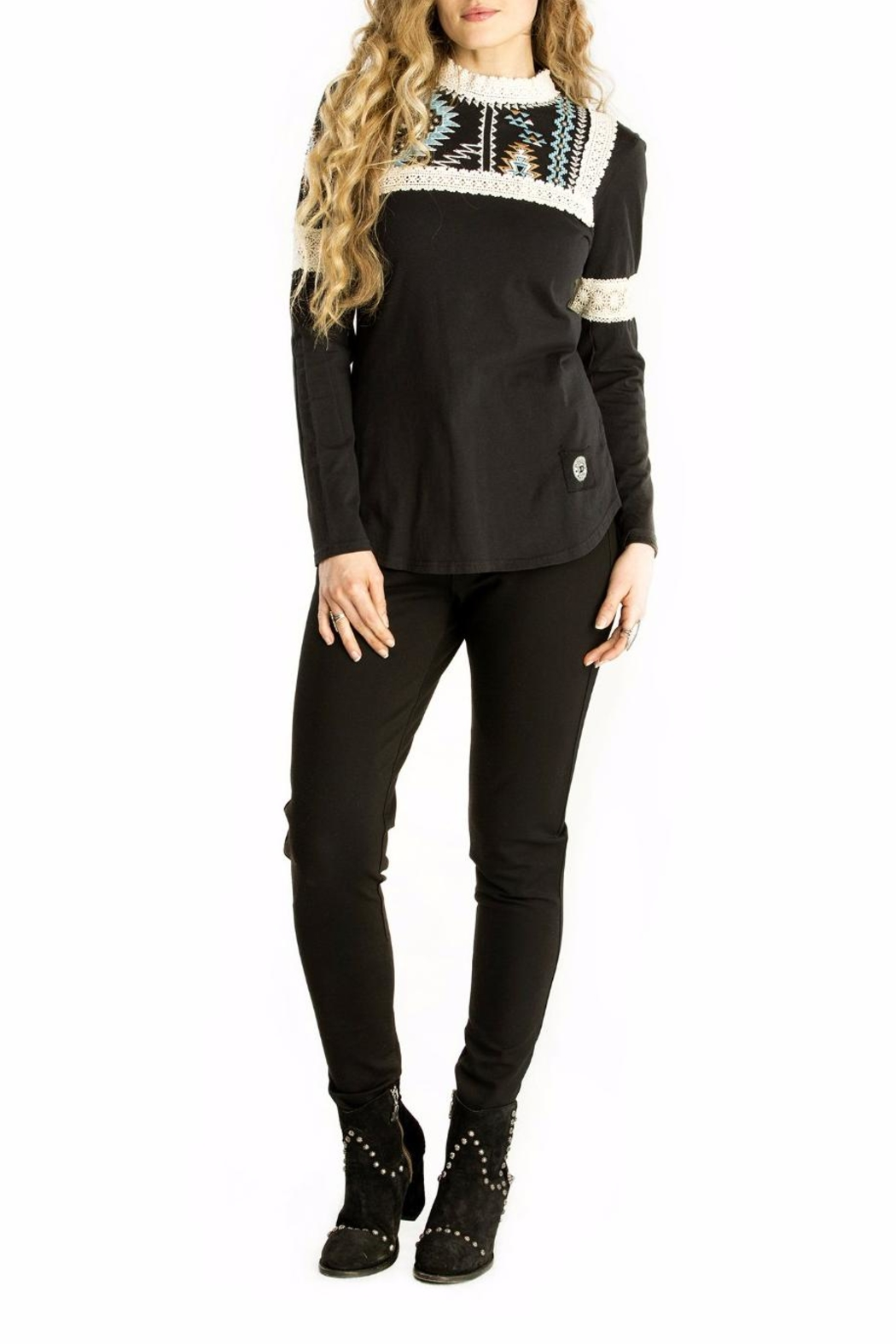 Double D Ranchwear Lace Accented Tee - Main Image