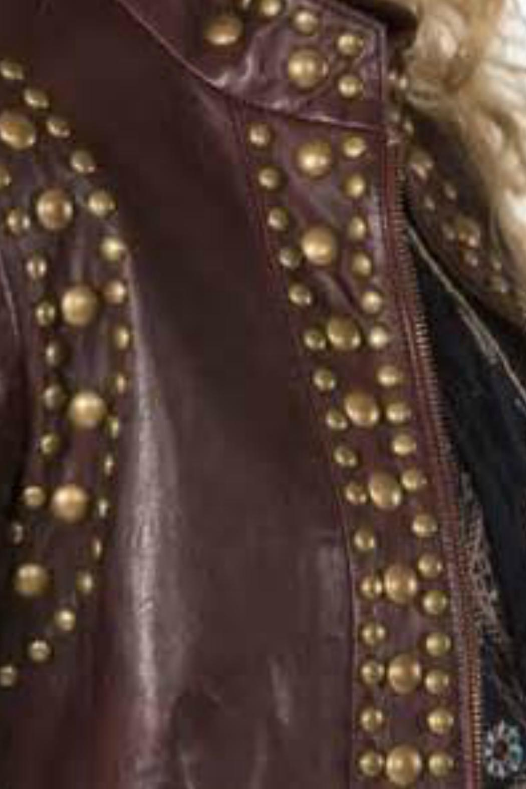 Double D Ranchwear Leather Studded Jacket - Side Cropped Image