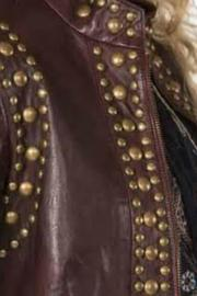 Double D Ranchwear Leather Studded Jacket - Side cropped