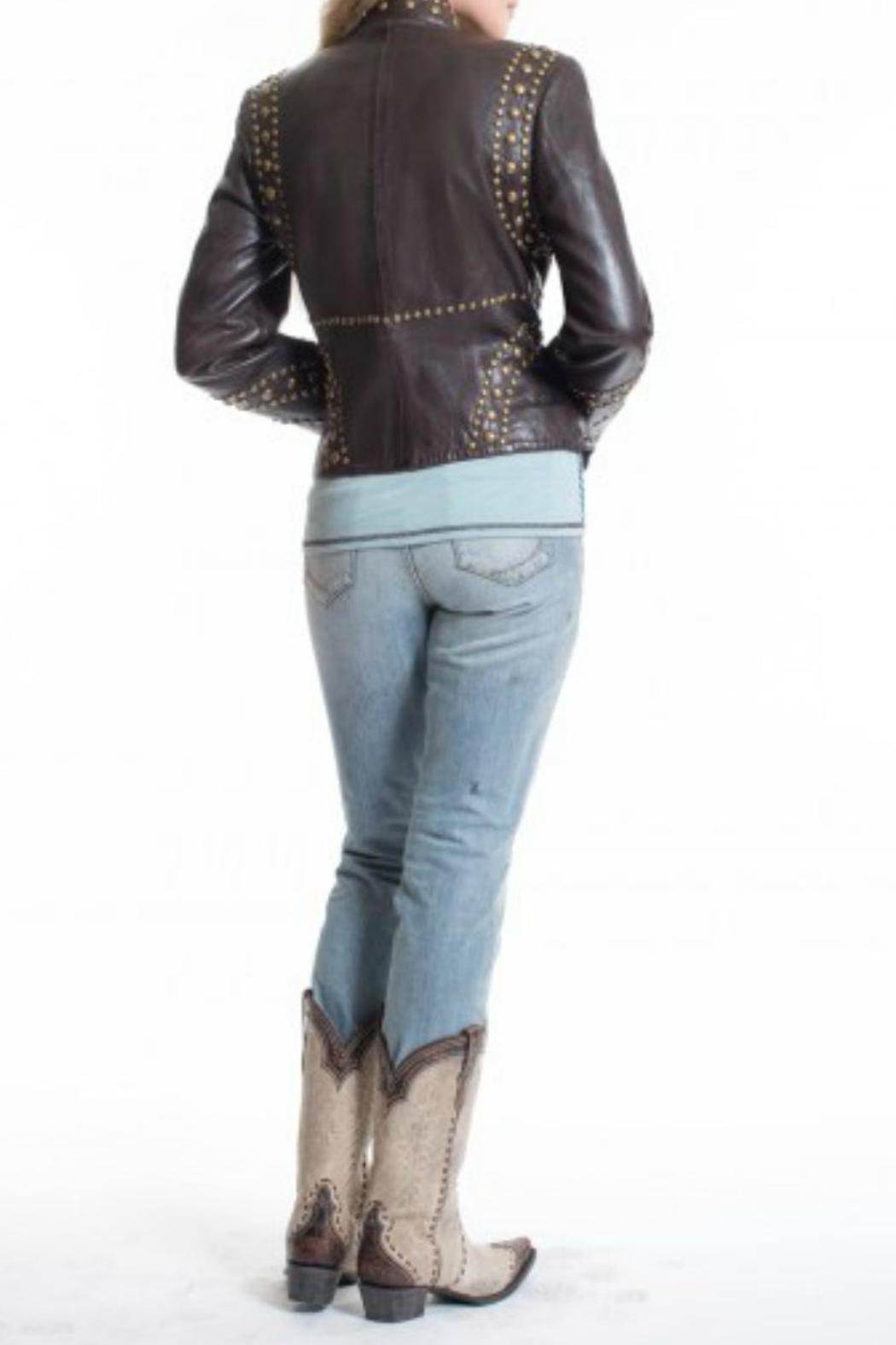 Double D Ranchwear Leather Studded Jacket - Front Full Image