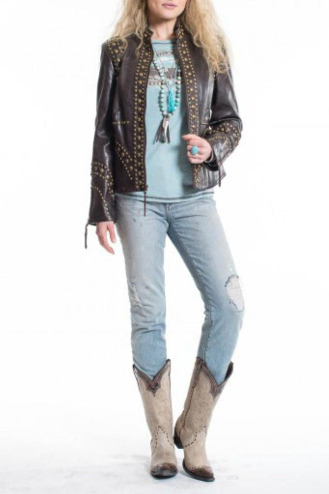 Double D Ranchwear Leather Studded Jacket - Main Image