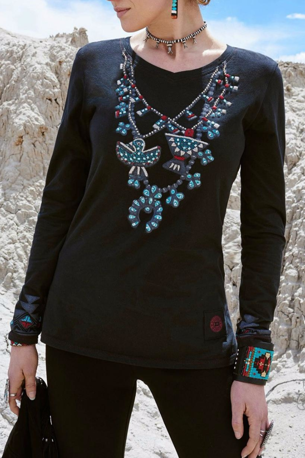 Double D Ranchwear Squash-Blossom Necklace Tee - Main Image