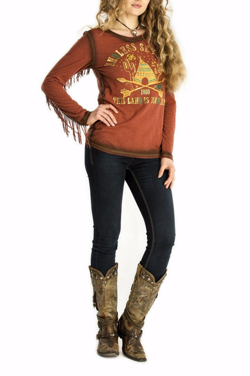 Double D Ranchwear Tee With Fringe - Main Image