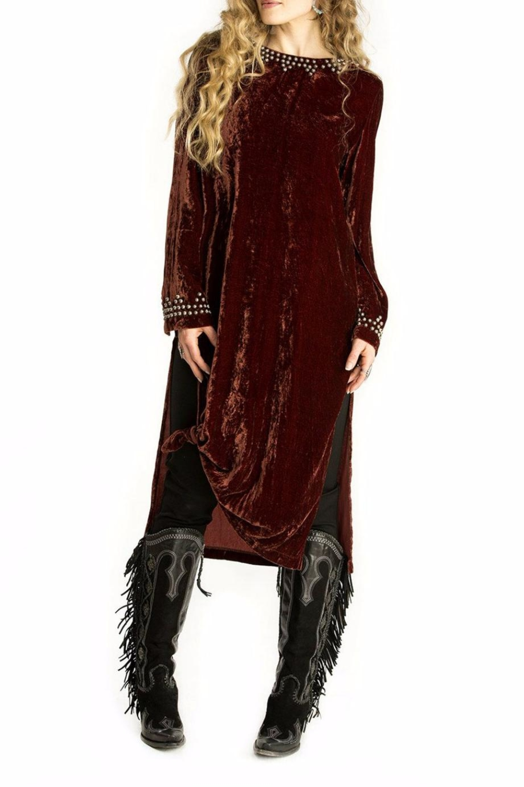 Double D Ranchwear Velvet Maxi Tunic Dress - Front Cropped Image