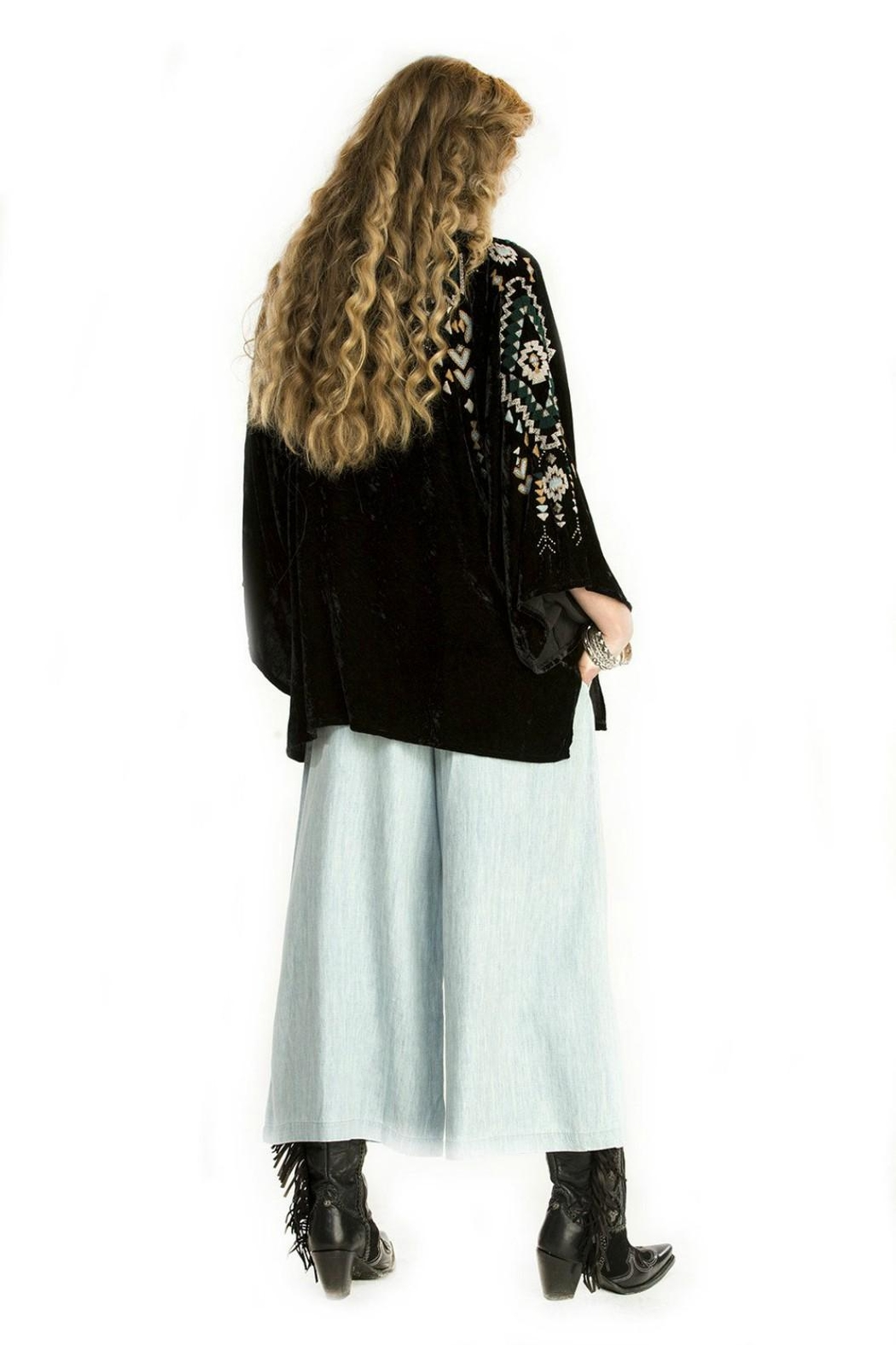 Double D Ranchwear Velvet Poncho Top - Side Cropped Image
