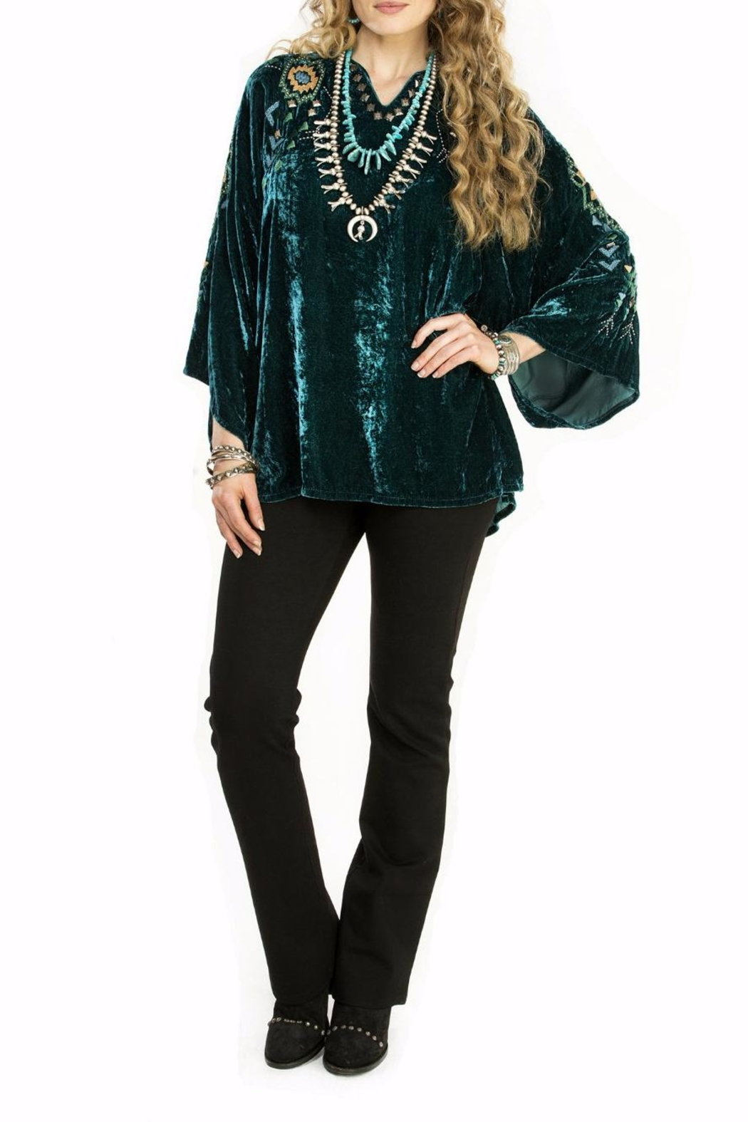 Double D Ranchwear Velvet Poncho Tunic Top - Main Image