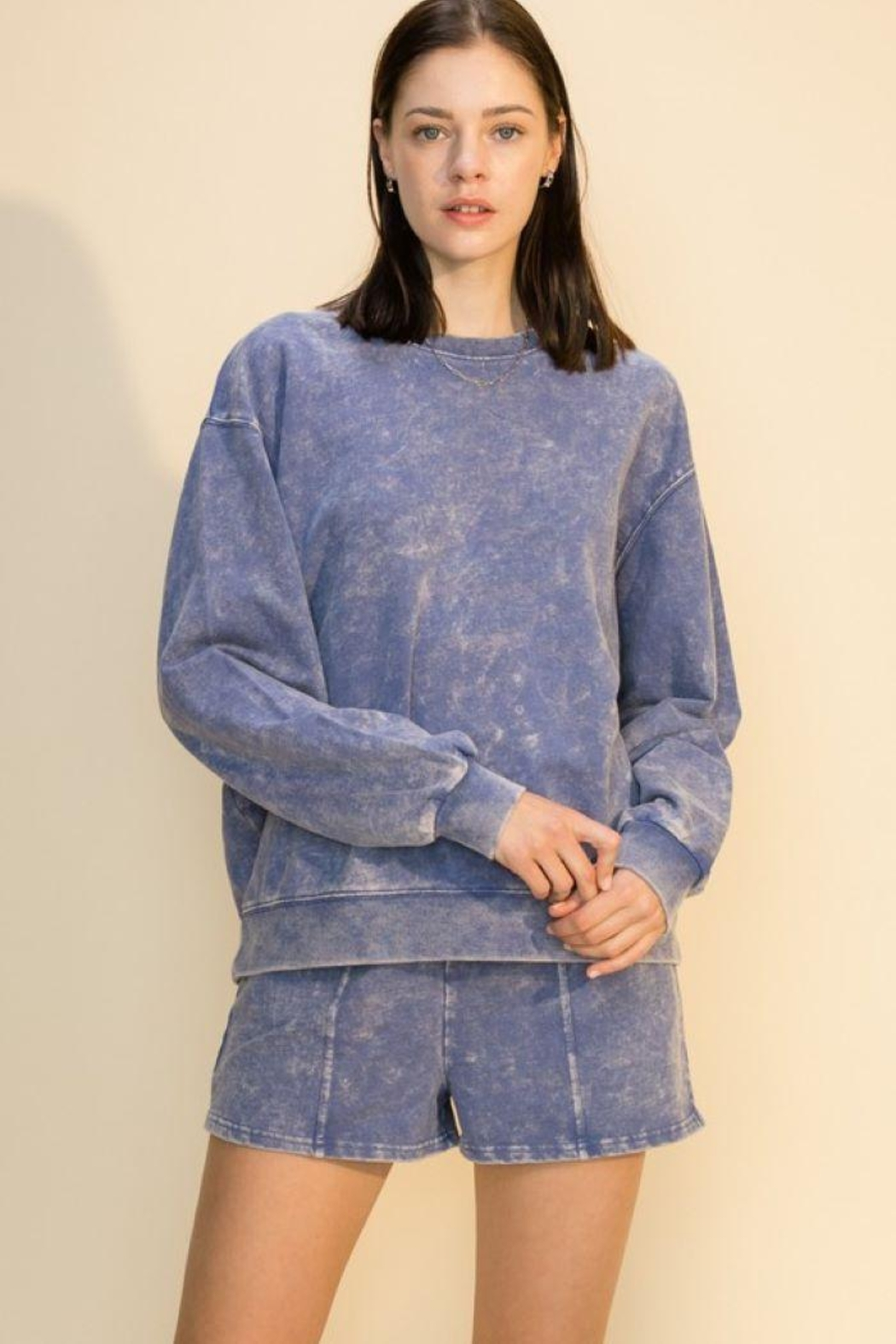 Double Zero Acid Wash Oversized Sweatshirt - Side Cropped Image