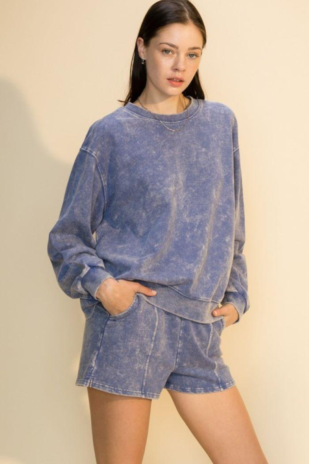 Double Zero Acid Wash Oversized Sweatshirt - Front Cropped Image