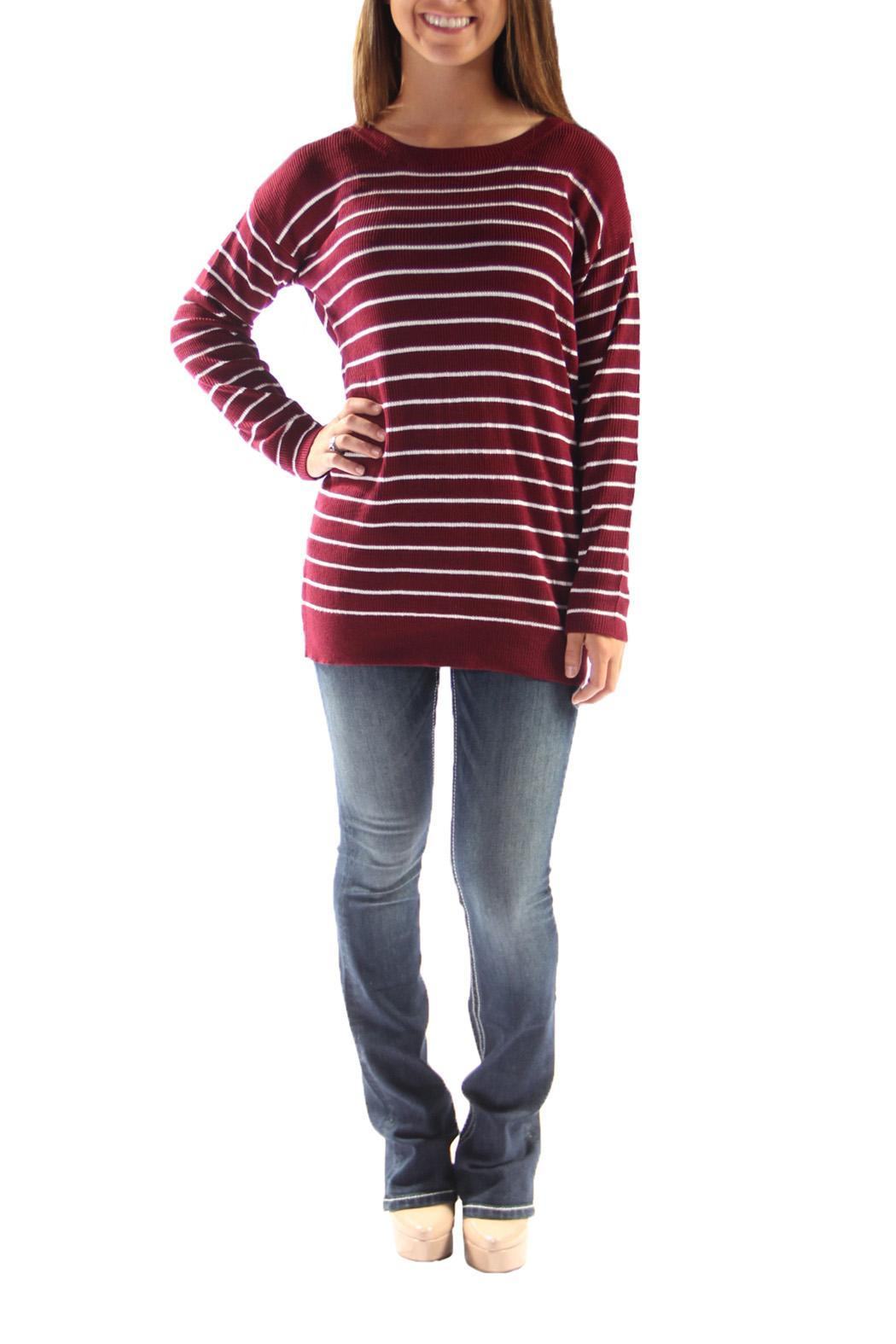 Double Zero Burgundy Striped Sweater from Arkansas by Martin's ...