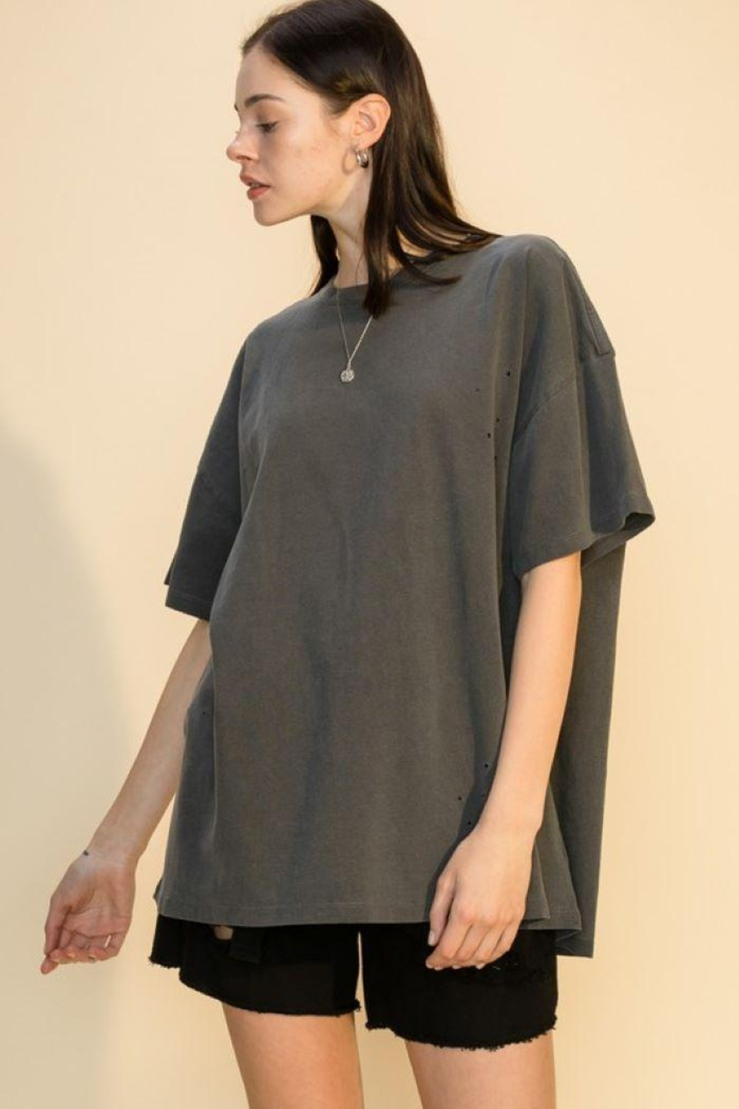 Double Zero Distressed Oversized T Shirt - Front Cropped Image