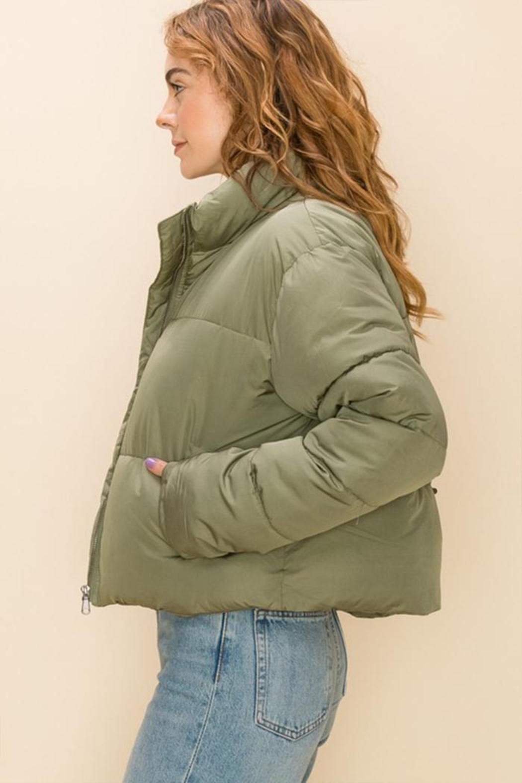 Double Zero Draw-Cord Puffer Jacket - Front Full Image