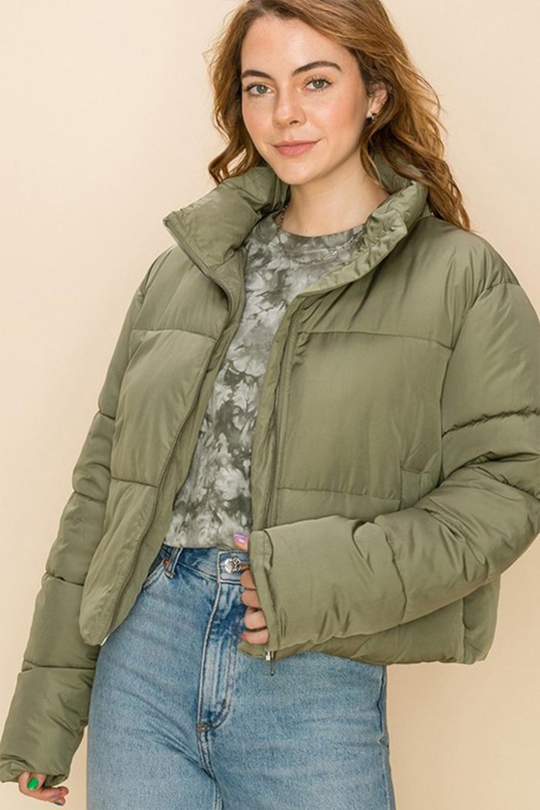 Double Zero Draw-Cord Puffer Jacket - Front Cropped Image