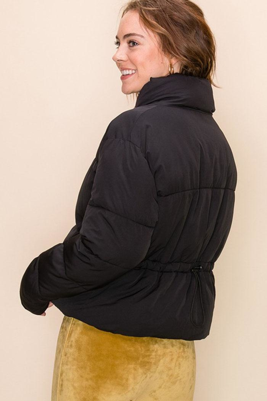 Double Zero Drawcord Puffer Jacket - Side Cropped Image