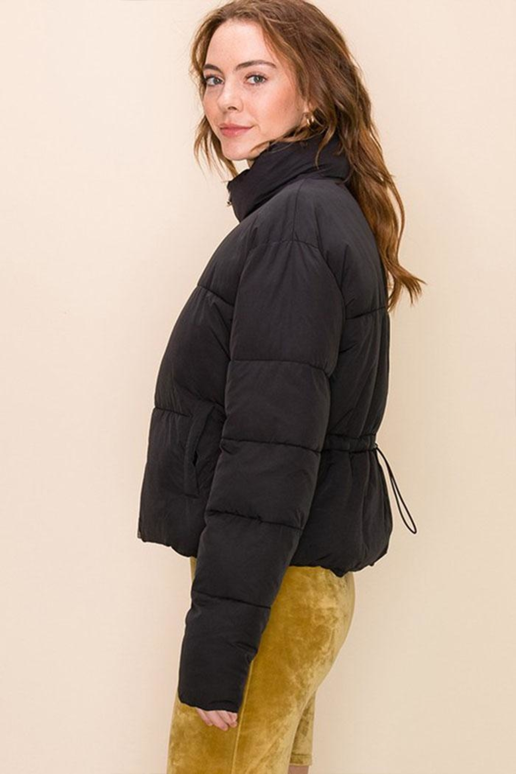 Double Zero Drawcord Puffer Jacket - Front Full Image