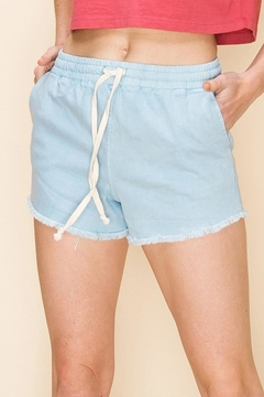 Double Zero Drawstring Fringe Hem Shorts - Product List Image