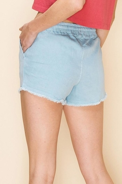 Double Zero Drawstring Fringe Hem Shorts - Alternate List Image