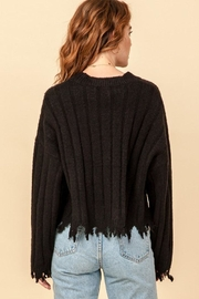 Double Zero Fray Trim Sweater - Back cropped
