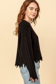 Double Zero Fray Trim Sweater - Side cropped