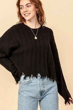 Double Zero Fray Trim Sweater - Product List Image