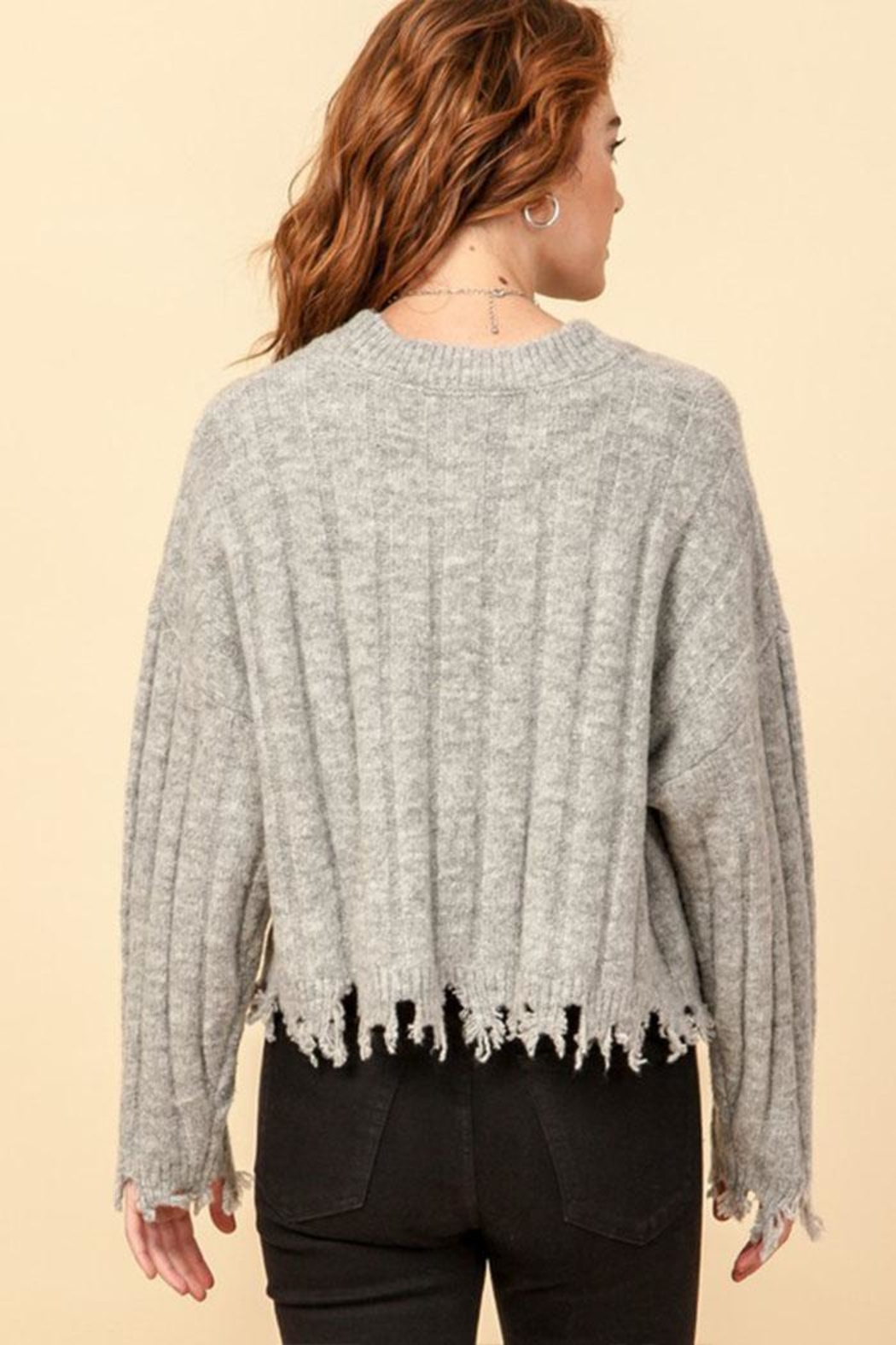 Double Zero Fray Trim Sweater - Side Cropped Image