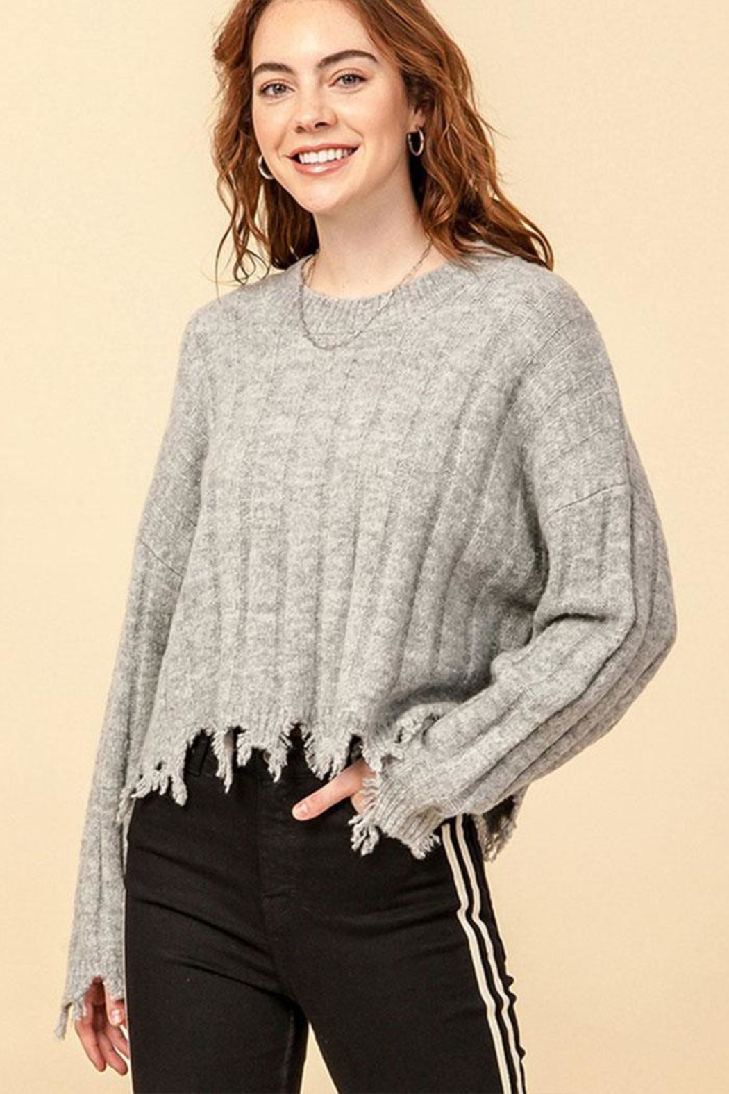 Double Zero Fray Trim Sweater - Front Cropped Image
