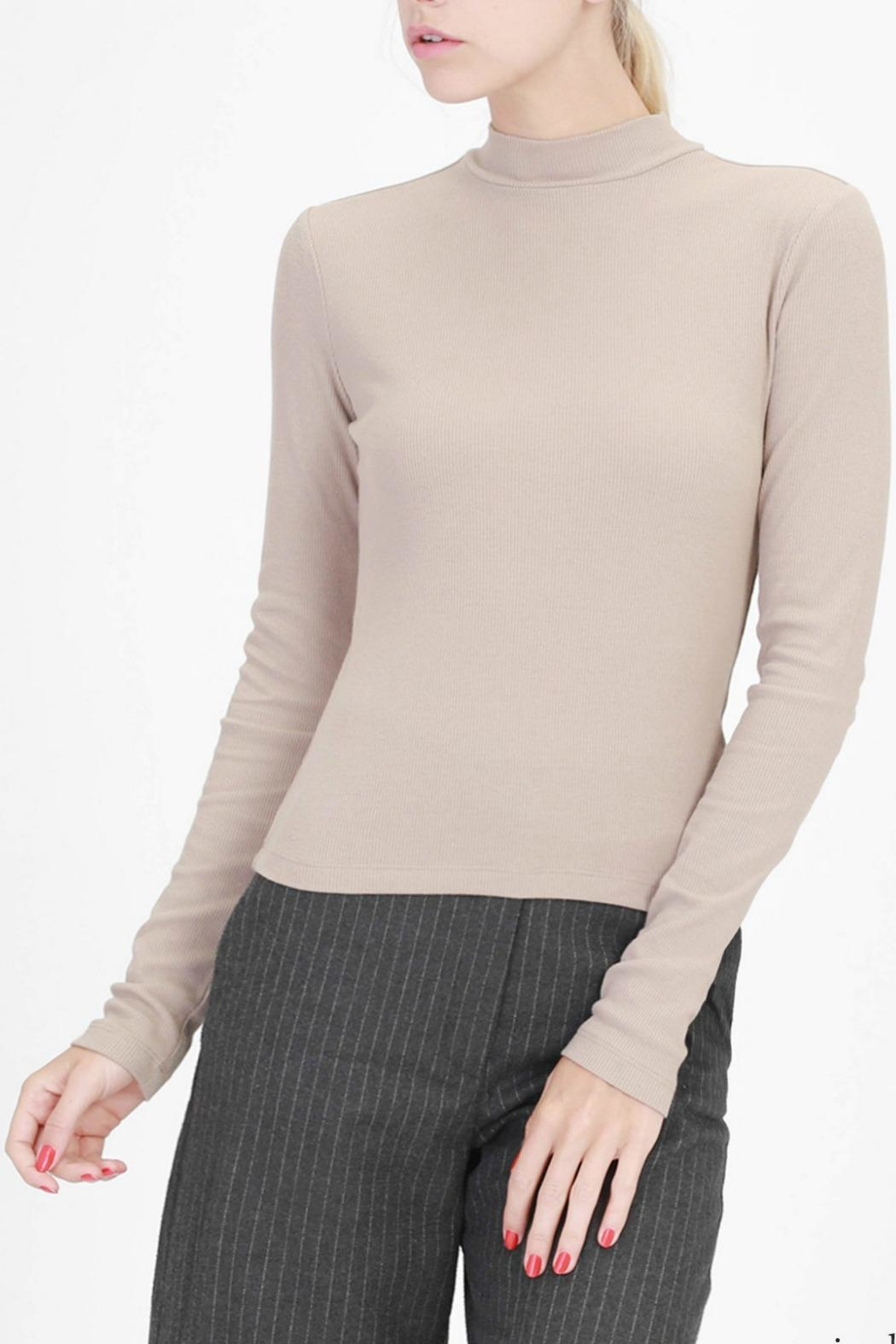 Double Zero High Neck Ribbed Top - Main Image