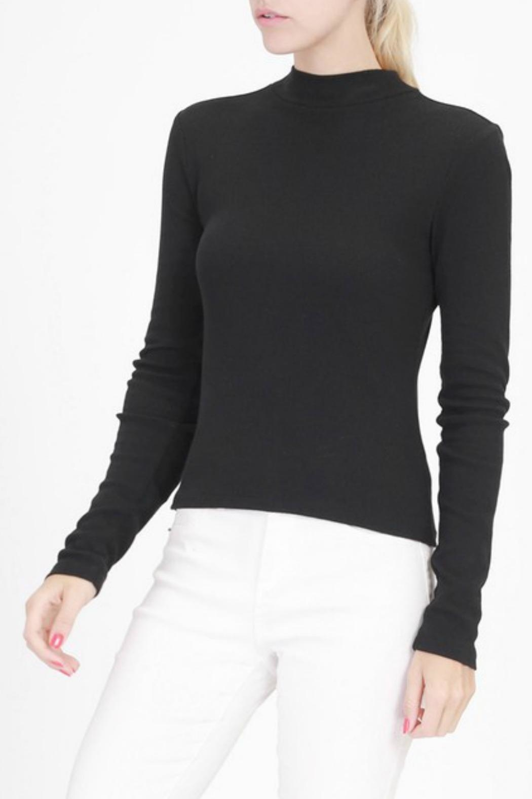 Double Zero High Neck Ribbed Top - Front Cropped Image