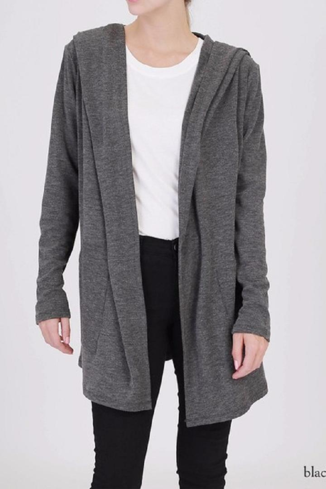 Double Zero Hooded Open Cardigan - Front Cropped Image
